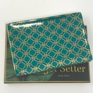 ROSSANA Boxed  Ring Jewelry Tray Teal & Gold
